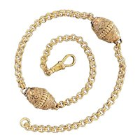 Victorian Etruscan Revival 14K Gold Pocket Watch Fob Chain, Layering Necklace, Charm Holder