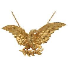 Large Antique Art Nouveau 18K Gold Eagle Bird Necklace, Heavy Brooch