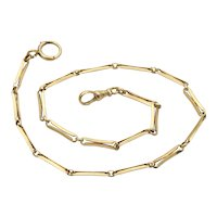 """Antique 14K Gold Pocket Watch Chain, 14.5"""" Long Layering Necklace, Charm Holder"""