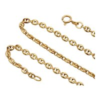 Vintage 18K Gold Mariner Anchor Gucci Link Chain, 16 Inch Layering Necklace