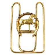 Antique 14K Gold Horse Equestrian Good Luck Horseshoe Money Clip
