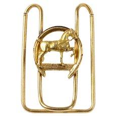 Antique 14K Gold Horse Equestrian Good Luck Horseshoe Money Clip