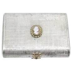Vintage Mario Buccellati Sterling Silver and 18K Gold Heavy Cameo Lipstick Powder Compact