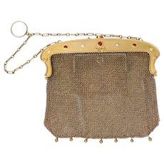 Edwardian Lebolt & Co 14K Gold Mesh Diamond and Ruby Purse Bag