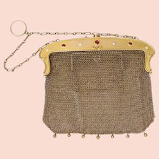 Edwardian Lebolt & Co 14K Gold Mesh Diamond and Ruby Purse Bag