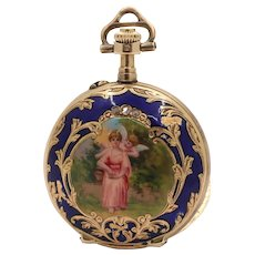 Swiss Enamel Cherub Cupid Portrait 14K Gold Diamond Pocket Watch