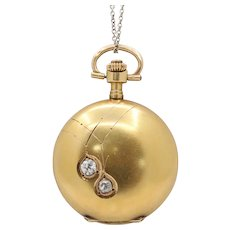 Antique Swiss 14K Gold and Old Cut Diamond Pocket Watch