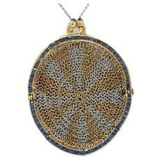 Antique Sapphire Platinum 18K Gold Mesh Coin Purse Pendant