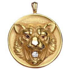 Victorian 14K Gold, Diamond Tiger Charm, Antique Big Cat Pendant