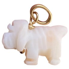 Vintage 18K Gold, Carved Angel Skin Coral Dog Charm, Pendant