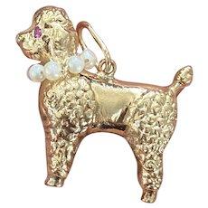Vintage 14K Gold and Pearl Poodle Dog Charm, Large Pendant