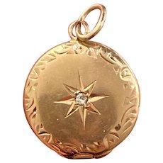 Victorian 14K Gold and Diamond Star-Set Miniature Locket Pendant, Antique Charm