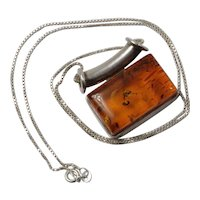 Vintage Natural Honey Colored Amber Pendant with Silver Necklace