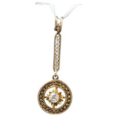 Art Nouveau 14K Gold and Diamond Filigree Circle Drop Necklace Pendant