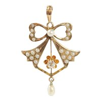 Art Nouveau Diamond and Split Pearl Bow Bell 14K Gold Antique Pendant Necklace