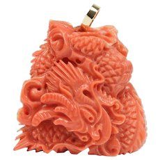 Large Expertly Carved Natural Coral Dragon 14K Gold Pendant