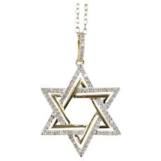 Diamond Star of David 14K Yellow and White Gold Pendant