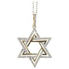 Diamond Star of David 14K Yellow and White Gold Pendant