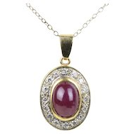 Natural 3 Carat Ruby Cabochon and Diamond 18K Gold Pendant