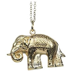 Vintage Elephant with Tusks and Headdress 14K Gold Charm Pendant