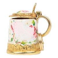 Vintage Enamel Floral Milk Jug Pot 9K Gold English Charm Pendant