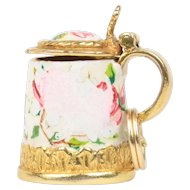Vintage Enamel Floral Milk Jug Pot 9K Gold English Charm Pendant