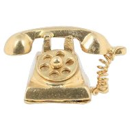 Vintage Spinning Rotary Telephone 10K Gold Charm Pendant