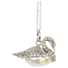 Antique Swan Diamond Natural Pearl Silver over Gold Charm Pendant