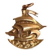 Vintage 14K Gold Sailboat on the Ocean Charm Pendant