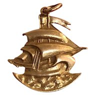 Vintage 14K Gold Sailboat on the Ocean Charm Pendant