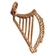Vintage English 9K Gold Harp Musical Charm Pendant