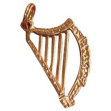 Vintage English 9K Gold Harp Musical Charm Pendant