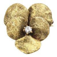 Art Nouveau 14K Gold Pansy Flower Diamond Pendant Fob Antique Pin