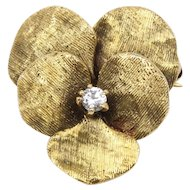 Art Nouveau 14K Gold Pansy Flower Diamond Pendant Fob Antique Pin
