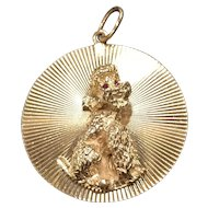 Large Vintage 14K Gold Poodle Dog Charm Medallion Pendant