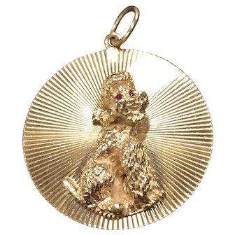 Large Vintage 14K Gold Poodle Dog Charm Medallion Pendant