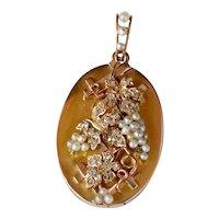 French Victorian 18K Gold and 1 Carat Diamond Pearl Grape Locket Pendant