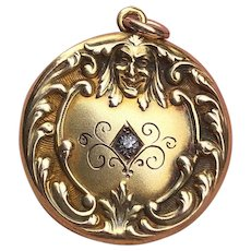 Art Nouveau Repousse Mask Man's Face Gold Filled Locket Charm Pendant
