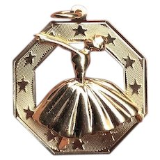 Ballerina Dancer 14K Gold Large Octogonal Charm Pendant