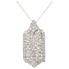 Art Deco Platinum and 3.3 Carats Diamond Filigree Pendant Brooch