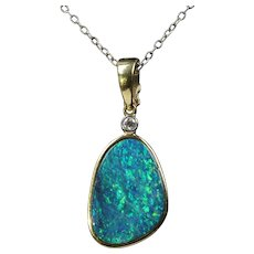 Australian Black Boulder Opal and Diamond 18K Gold Pendant Enhancer