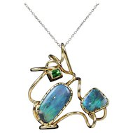 Large Abstract Black Boulder Opal and Tsavorite Garnet 14K Gold Pendant