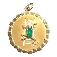 Large Vintage 9K Gold and Chrysoprase Frog Charm Pendant Medallion