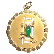 Large Vintage 9K Gold and Chrysoprase Frog Charm Pendant Medallion