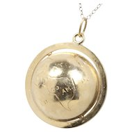 Vintage Globe 14K Gold Charm Pendant Medallion