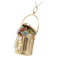 Vintage Last Year's Jewels Trashcan Bucket 14K Gold Charm Pendant