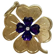 Large Amethyst Diamond 14K Gold Clover Good Luck Charm Pendant