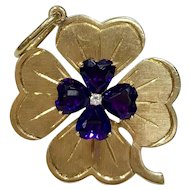 Vintage Amethyst Diamond and 14K Gold Clover Good Luck Charm Pendant