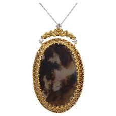 Victorian Dendritic Moss Agate and 0.5 Carat Diamond 14K Gold Pendant Necklace