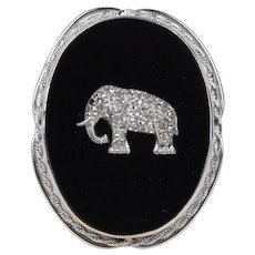 Art Deco 1 Carat Rose Cut Diamond Elephant Onyx 14K Gold Pendant Brooch